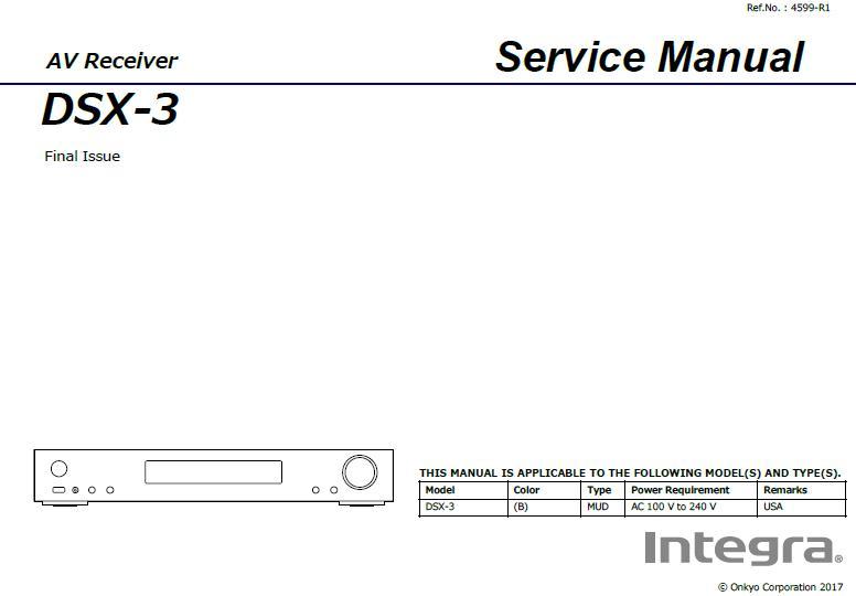 Integra DSX-3 Service Manual