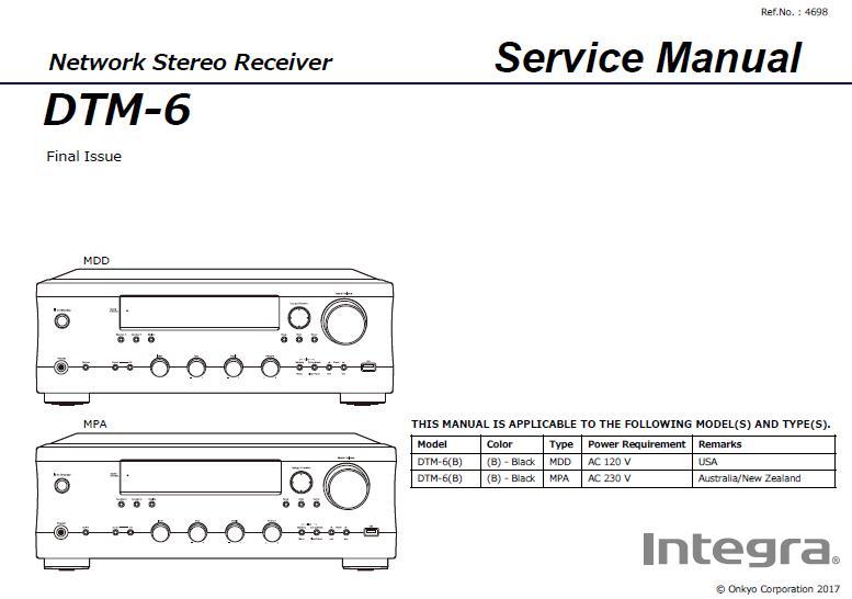 Integra DTM-6 Service Manual