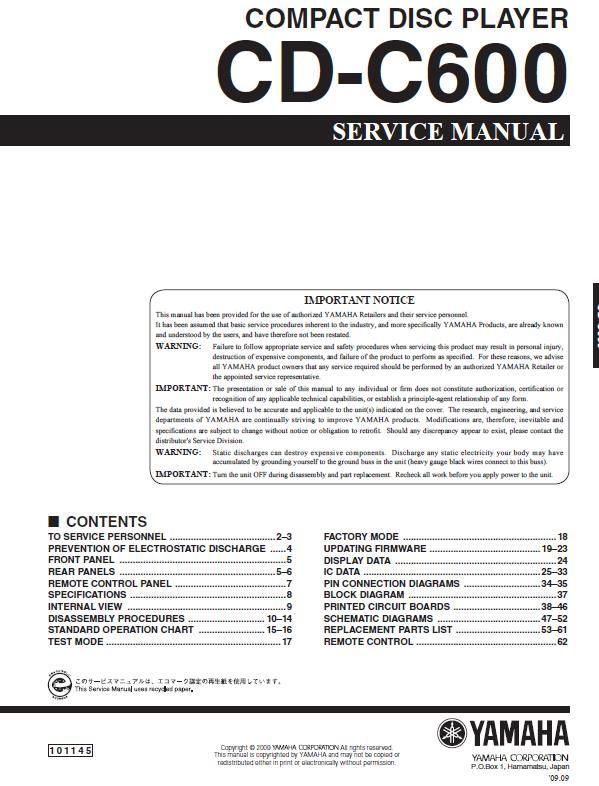 Yamaha CDC-600 Service Manual