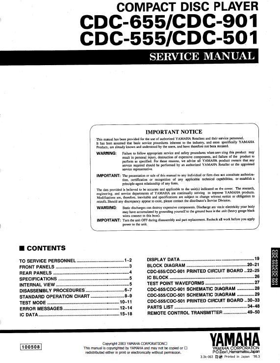 Yamaha CDC-501/555/655/901 Service Manual