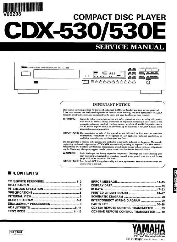 Yamaha CDX-530 Service Manual