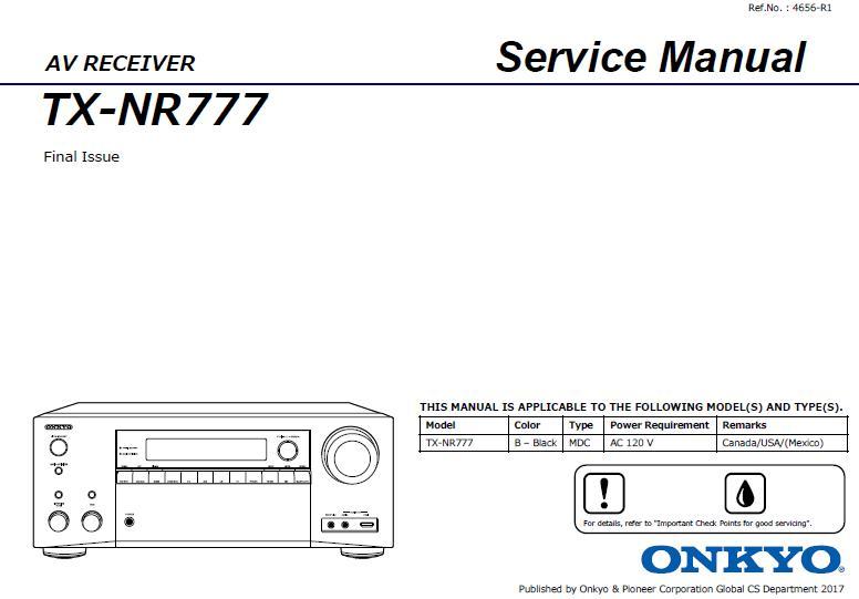Onkyo TX-NR777 Service Manual
