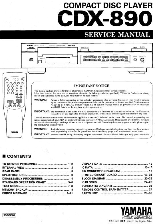 Yamaha CDX-890 Service Manual