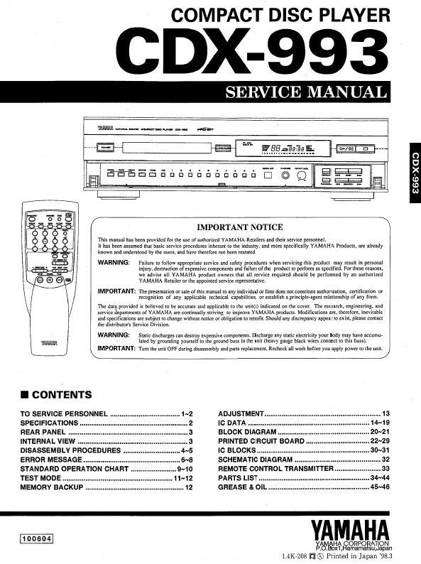 Yamaha CDX-993 Service Manual
