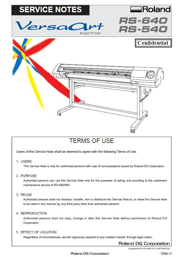 Roland RS-540/RS-640 Service Manual