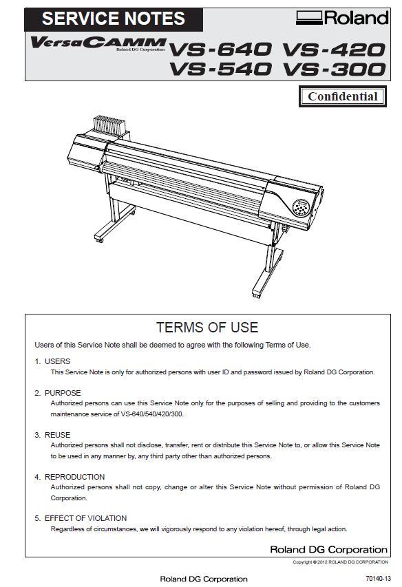 Roland VS-300/VS-420/VS-540/VS-640 Service Manual